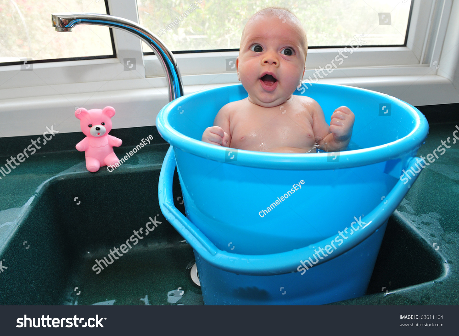 Baby Blue Bucket Cools Off Summer Stock Photo (Edit Now) 63611164 ...