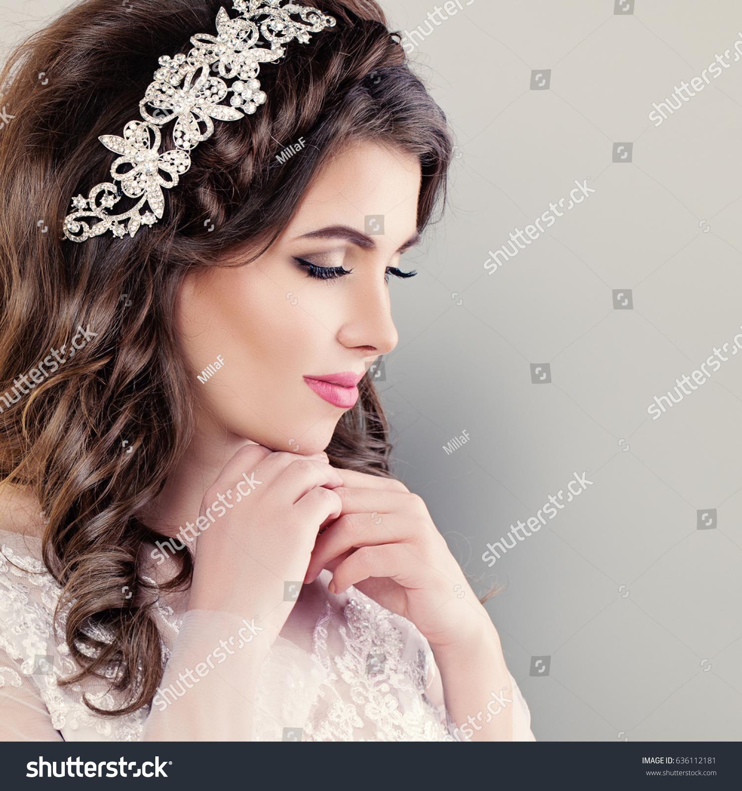 beautiful young bride stylish woman fiancee stock photo 636112181