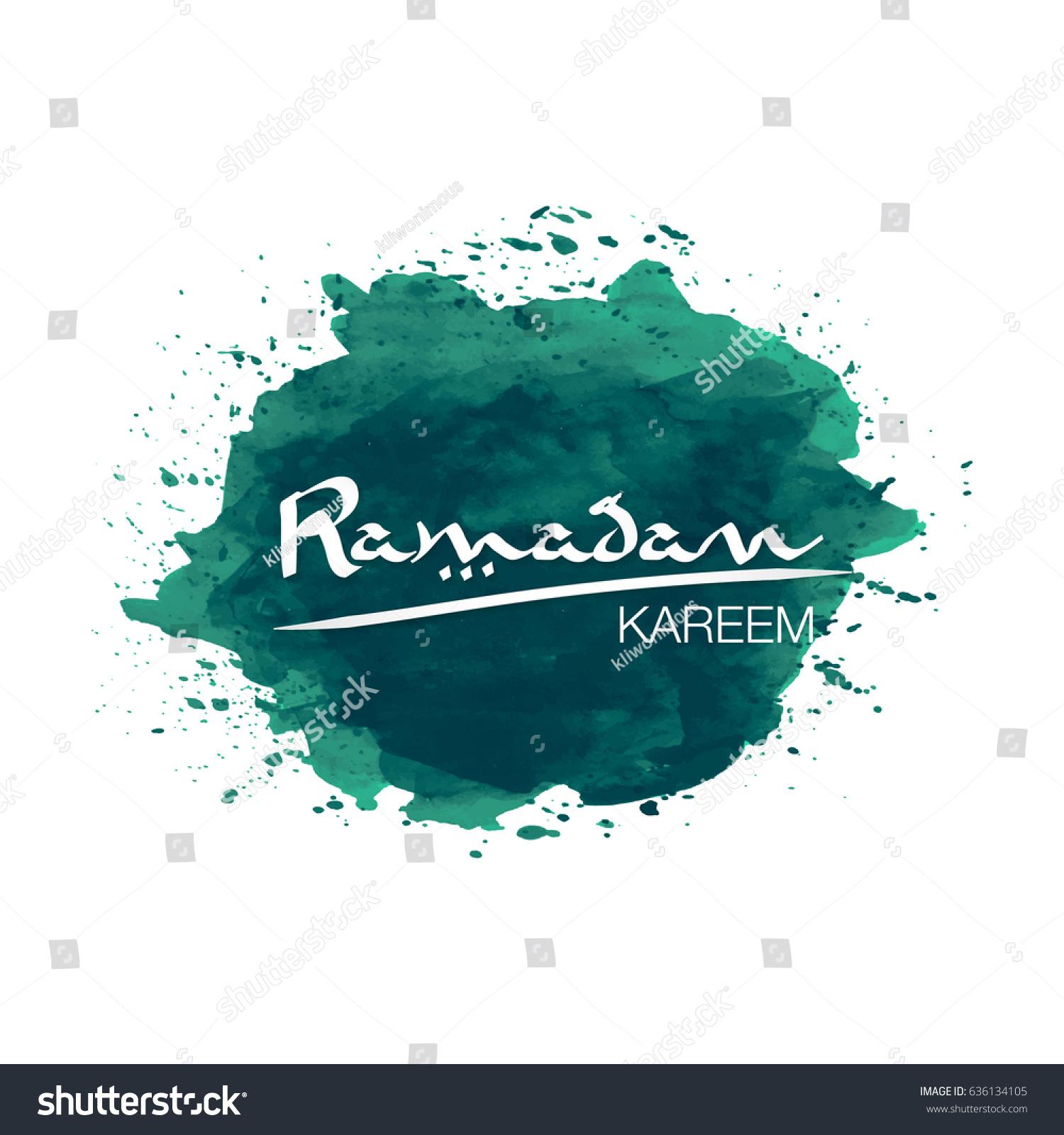 Ramadan Kareem Vector Illustration Water Color Stock Vector (Royalty