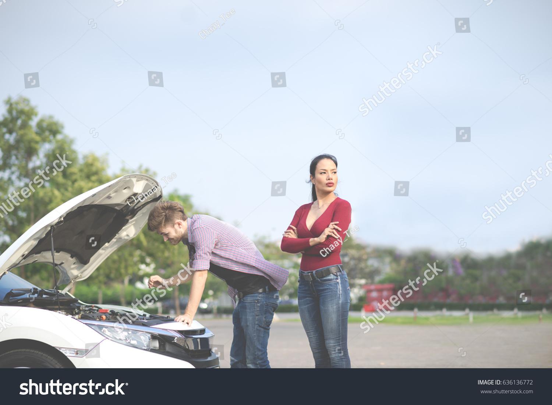Couple Has Engine Failure Car Breakdown Stock Photo (Royalty Free ...