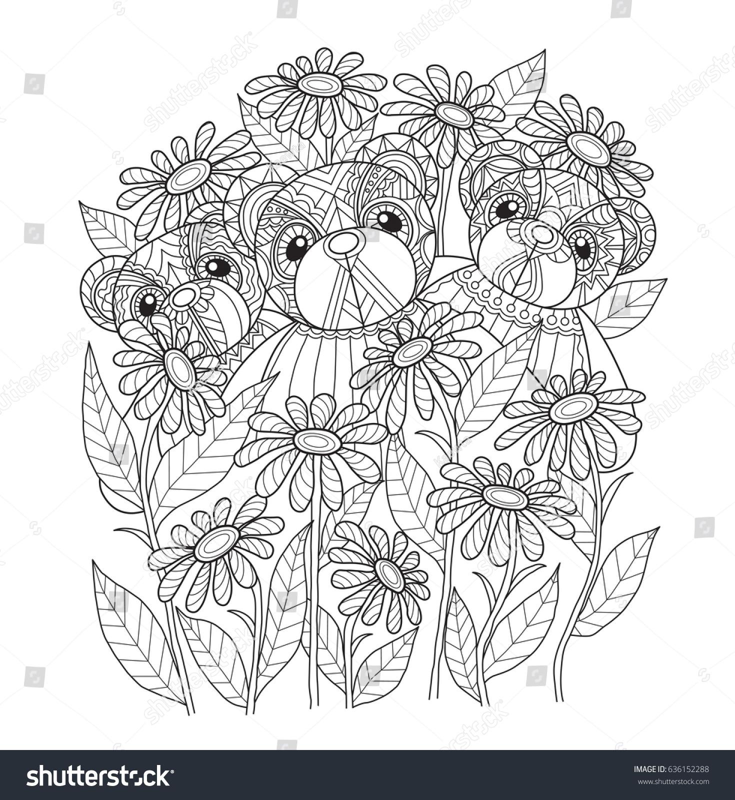 3 teddy bears garden zentangle stylized stock vector