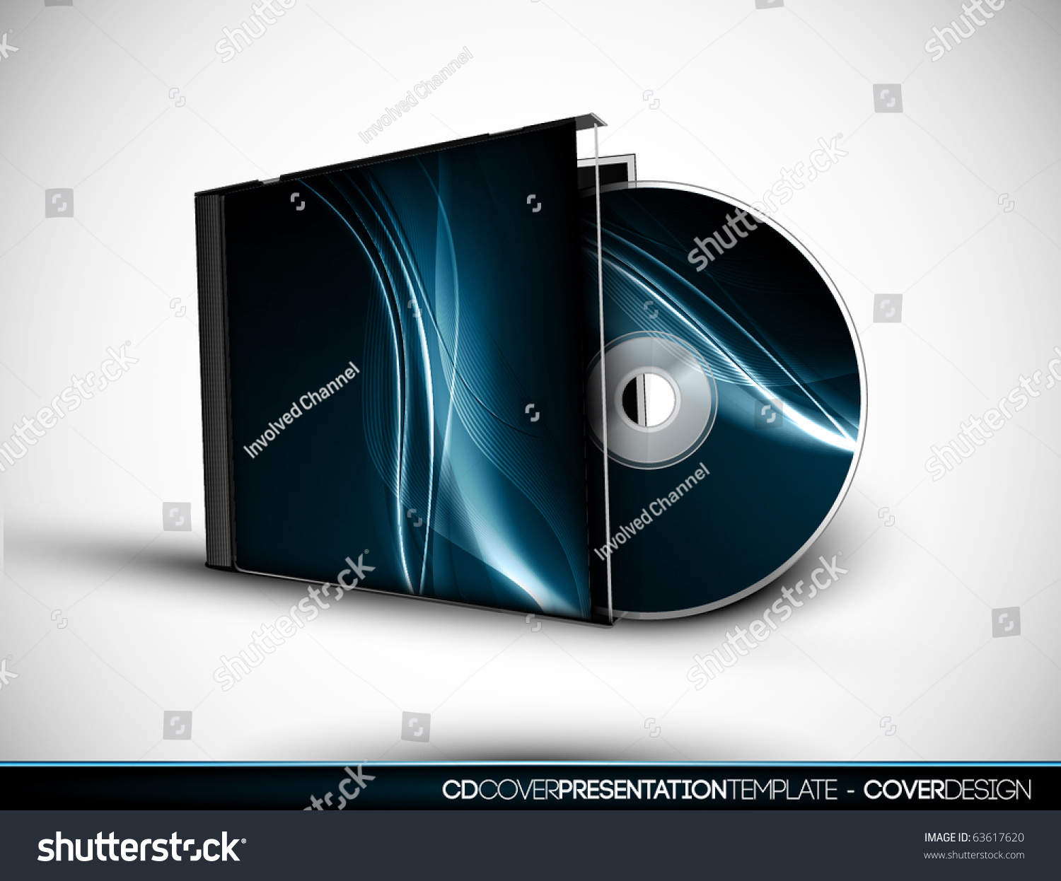 cd cover design 3d presentation template stock vector 63617620, Presentation templates