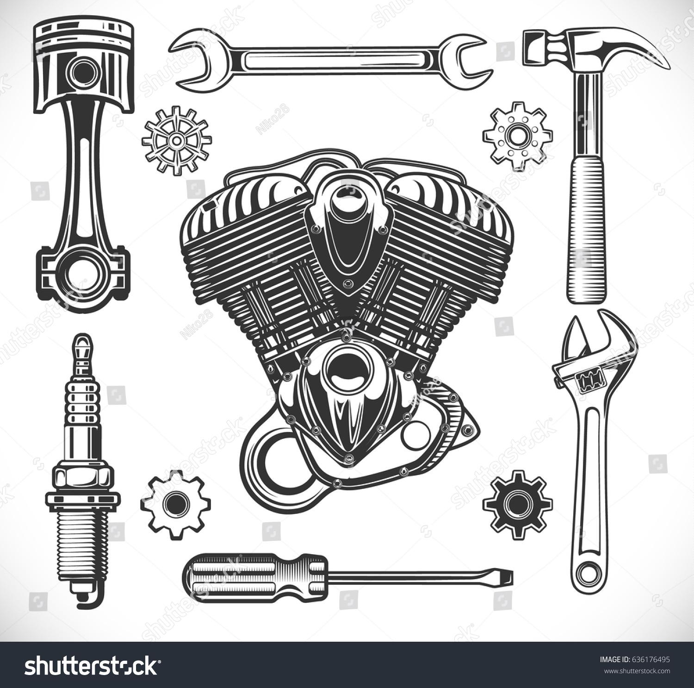Set auto moto logos garage service stock vector 636176495 for Logo drawing tool