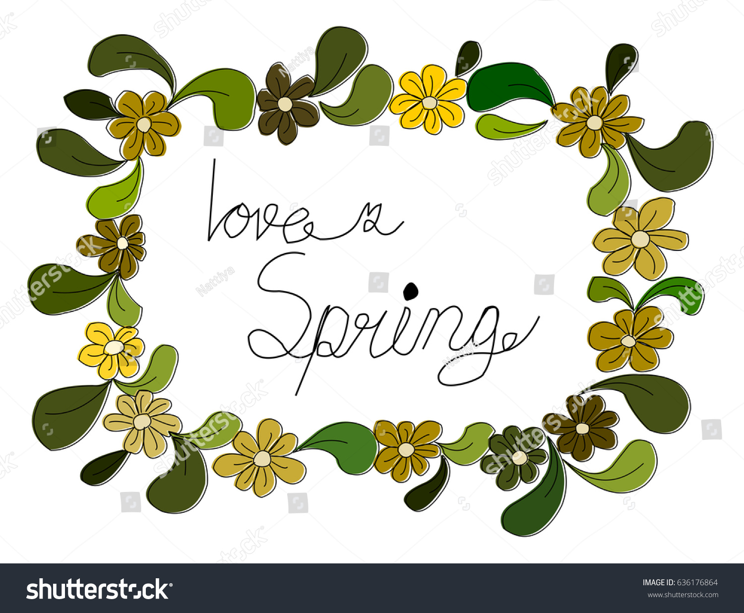 Love Spring And Leaf Layout Hand Draw Vector Ez Canvas