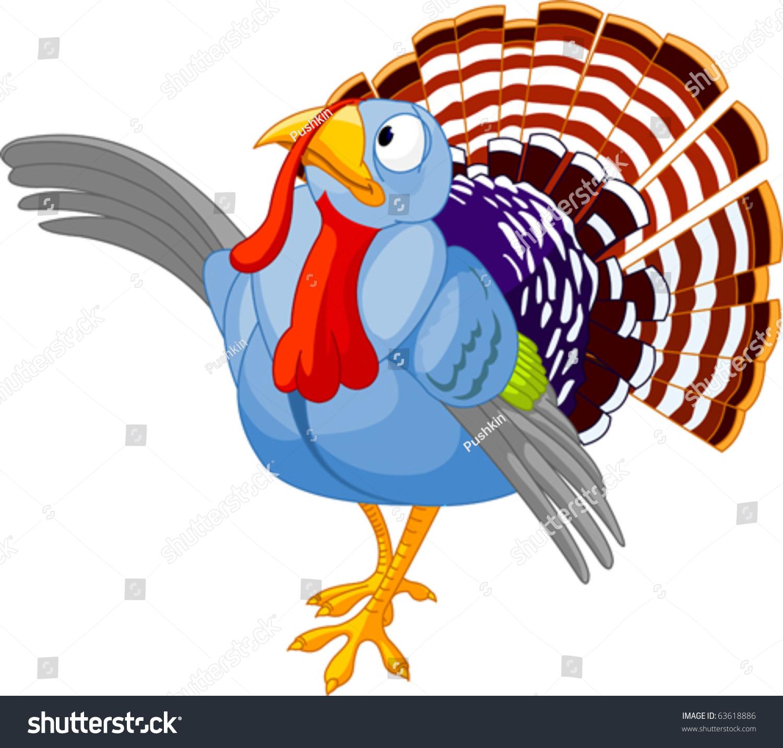 illustration thanksgiving cartoon turkey presenting stock vector