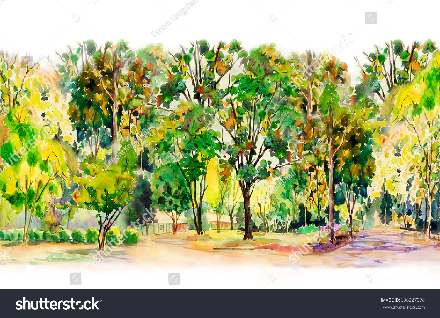 Watercolor Painting Colorful Flowers Garden Trees Stock Illustration ...