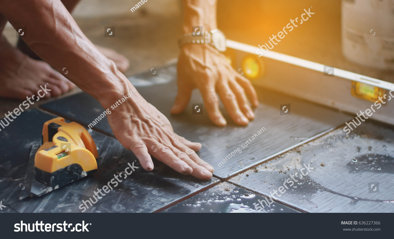 Ceramic tiles tiler placing ceramic wall stock photo royalty free ceramic tiles tiler placing ceramic wall tile in position over adhesive with lash tile leveling dailygadgetfo Image collections