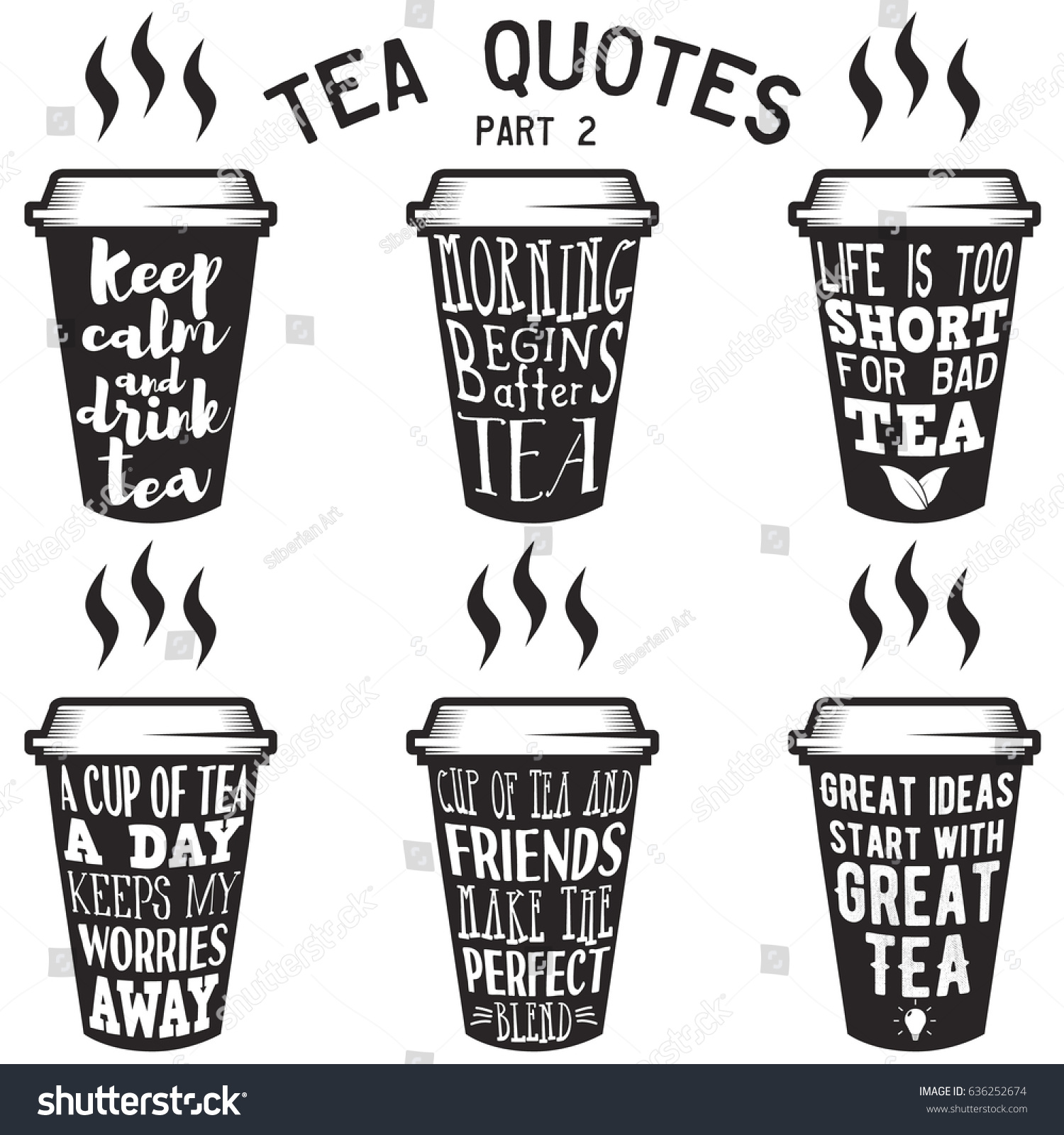 Vector Set Paper Cups Tea Quotes Stock Vector Royalty Free