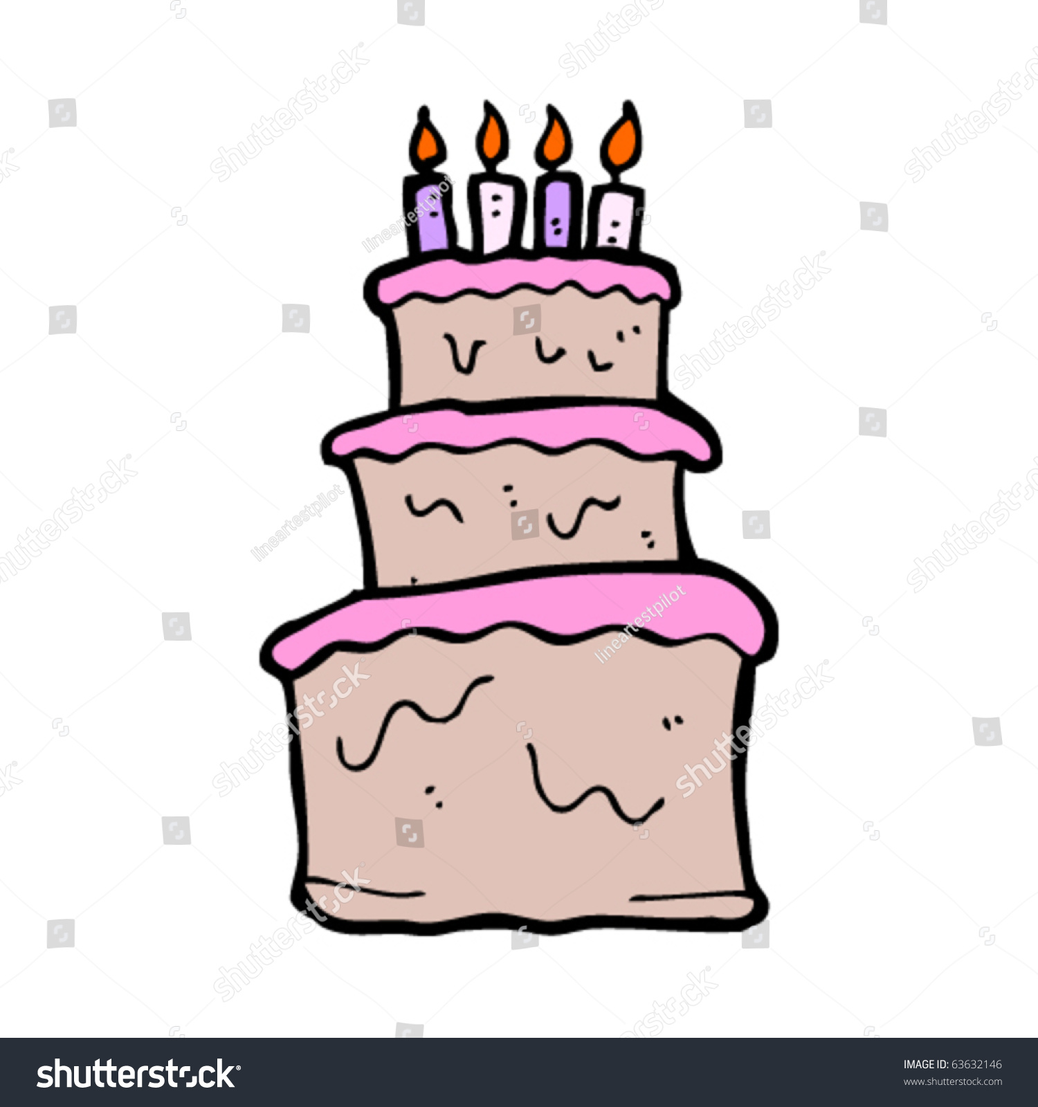 Huge Birthday Cake Cartoon Stock Photo Photo Vector Illustration