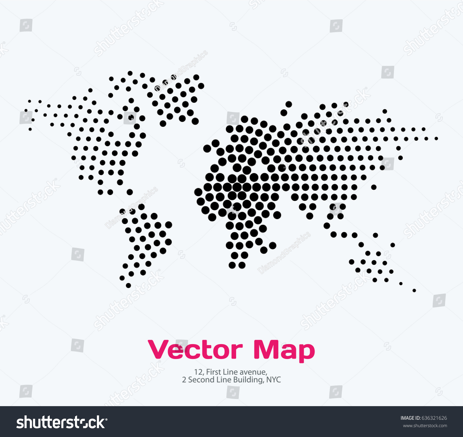 Vector world map template round spots vectores en stock 636321626 vector world map template with round spots dots for business graphic design abstract art gumiabroncs Gallery