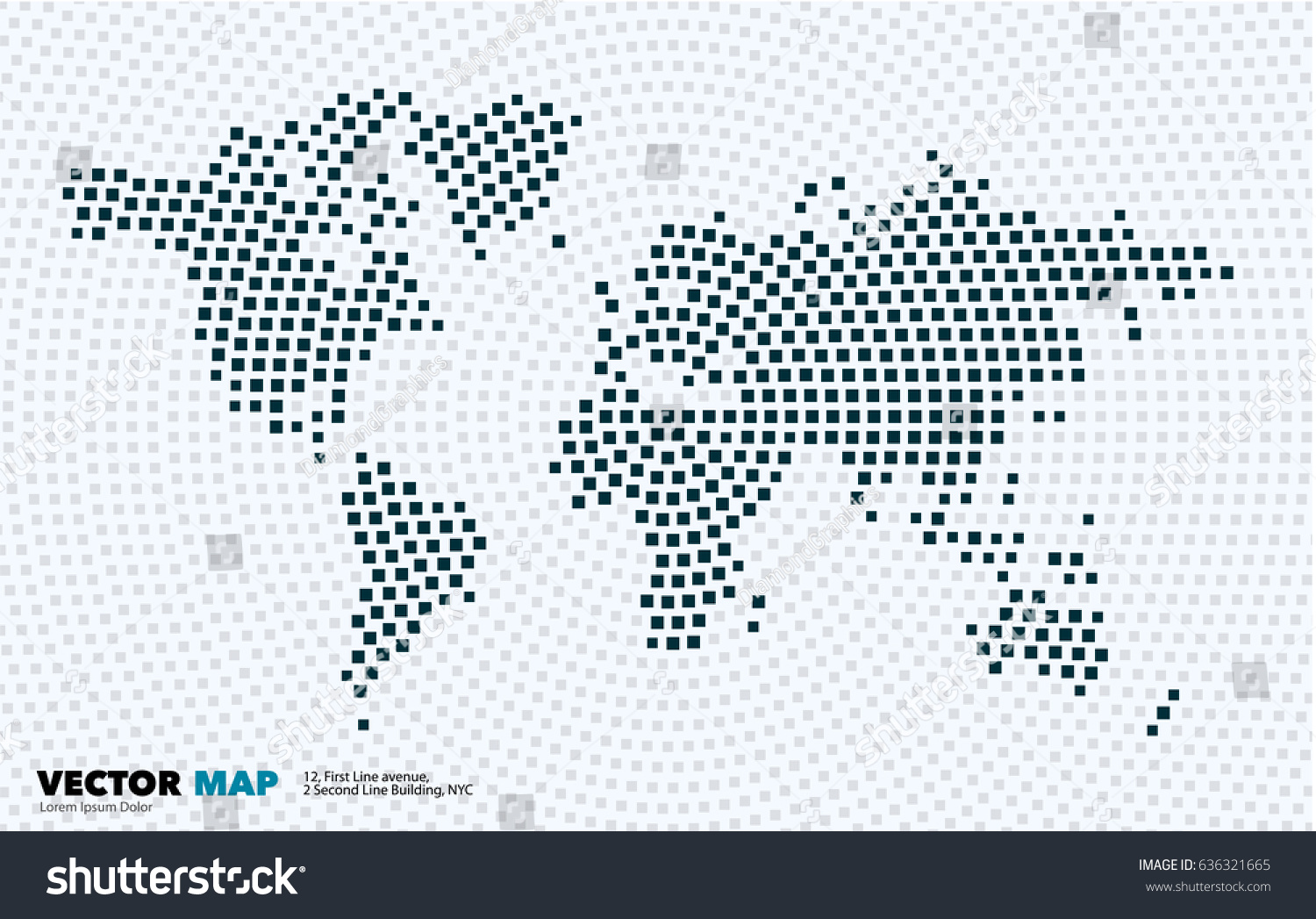Vector world map template squares rectangles vector de vector world map template with squares rectangles for business graphic design abstract art for gumiabroncs Gallery