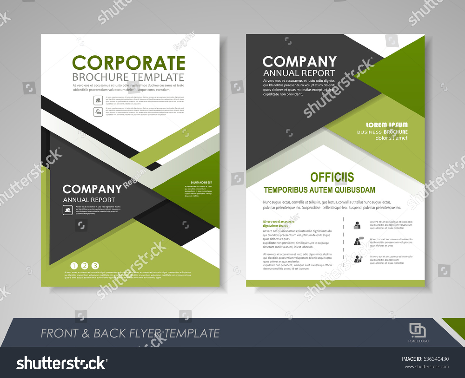 green annual report brochure flyer design template leaflet cover