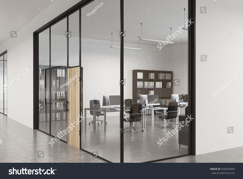 Close Glass Office Lobby Wooden Door Stock Illustration 636354095