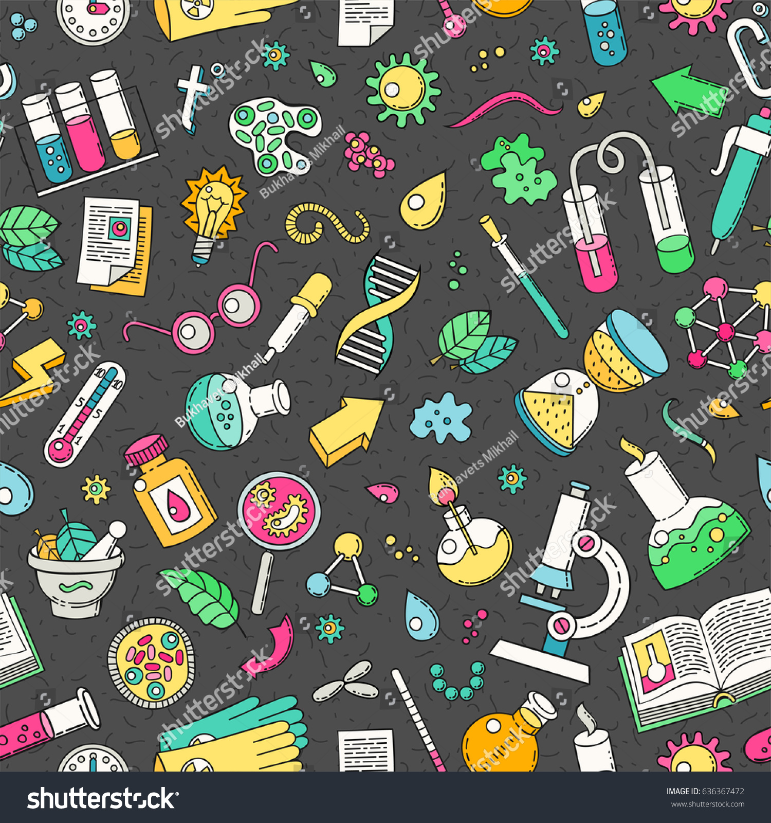 Science Laboratory Background Design: Seamless Background Science Doodles Style Bio Stock Vector