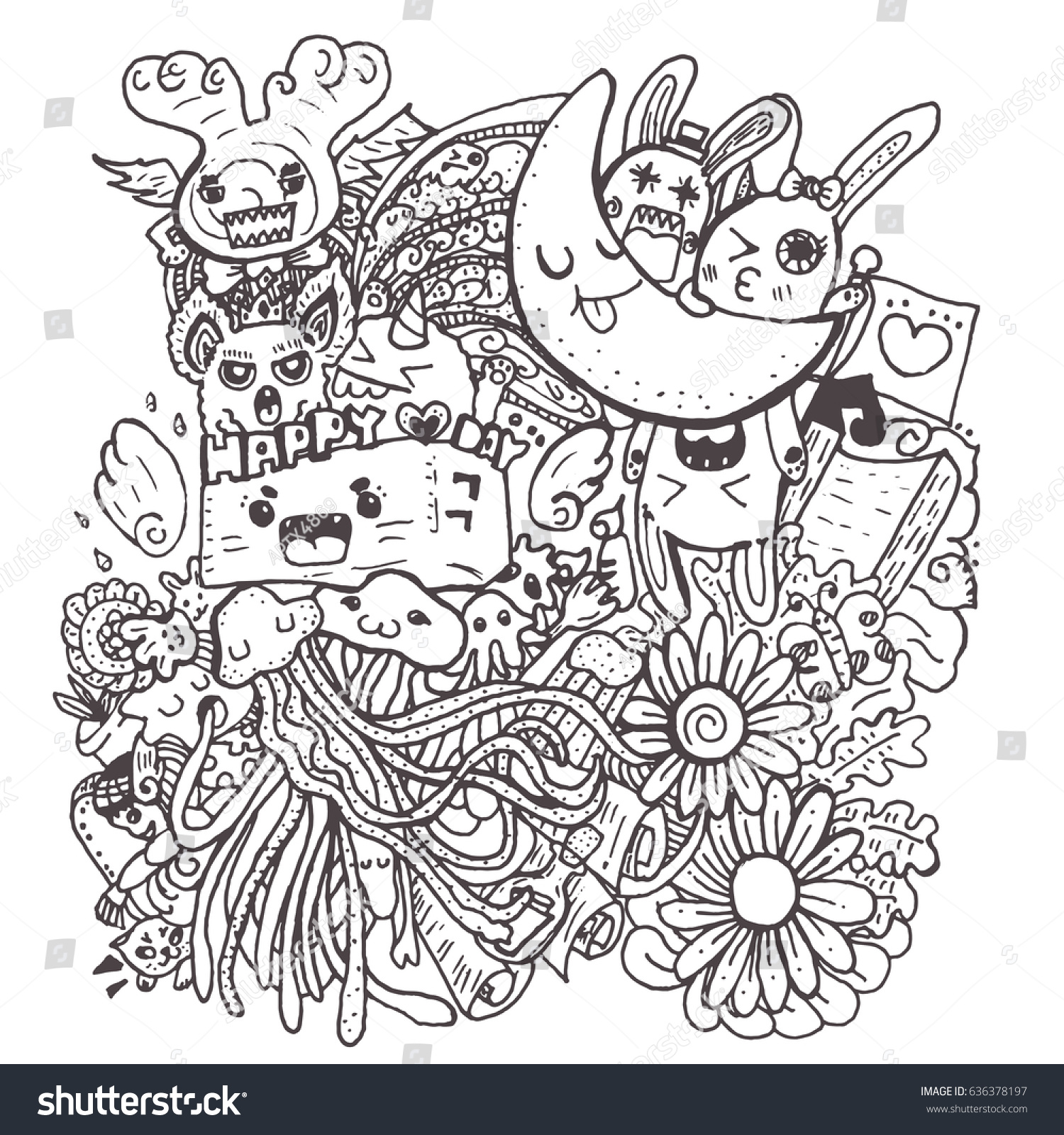 Crazy Doodle The Monster Hand Drawn Vector Illustration For Kid T Shirt Print