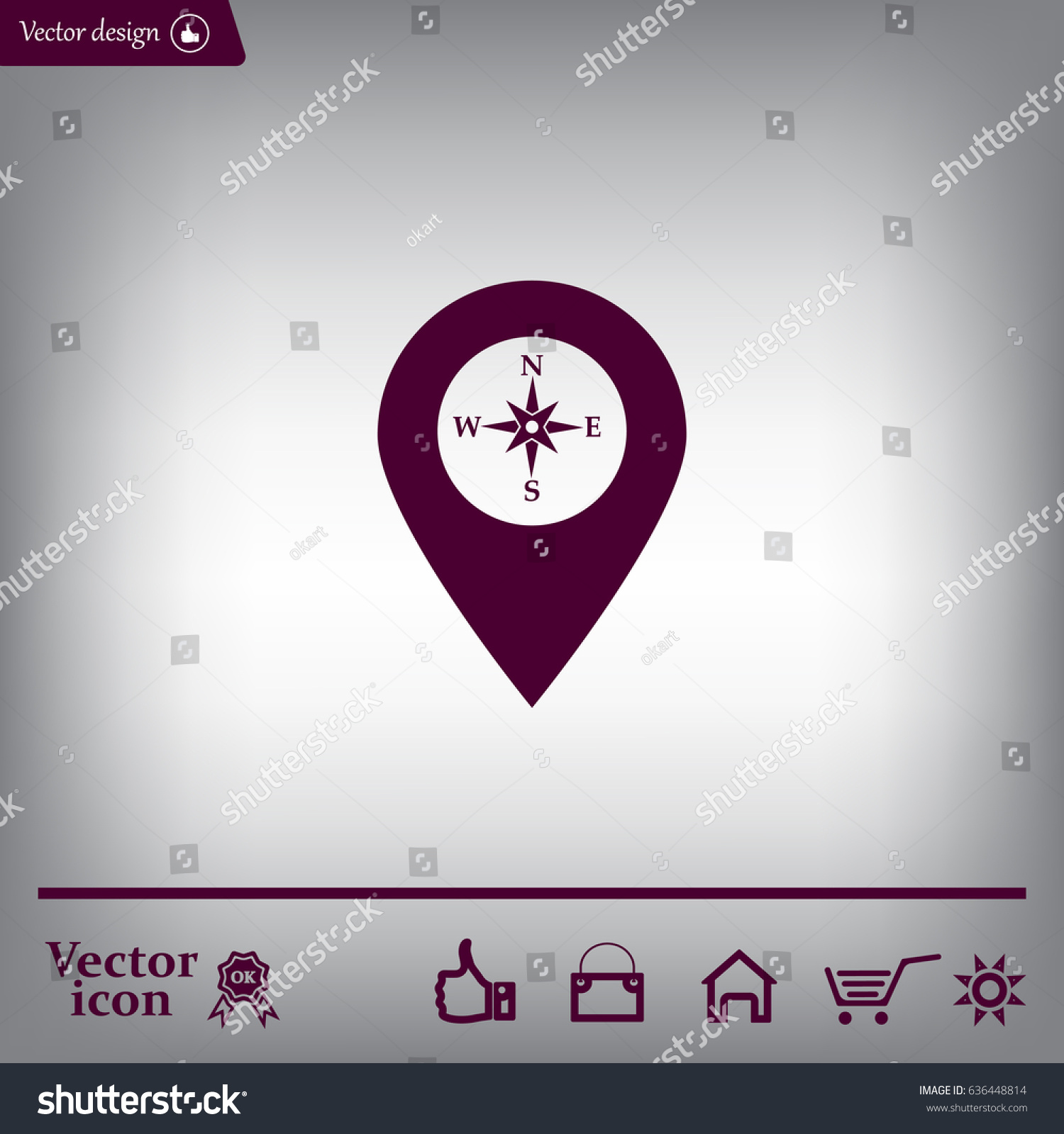 Compass Icon Pin On Map Stock Vector (Royalty Free) 636448814