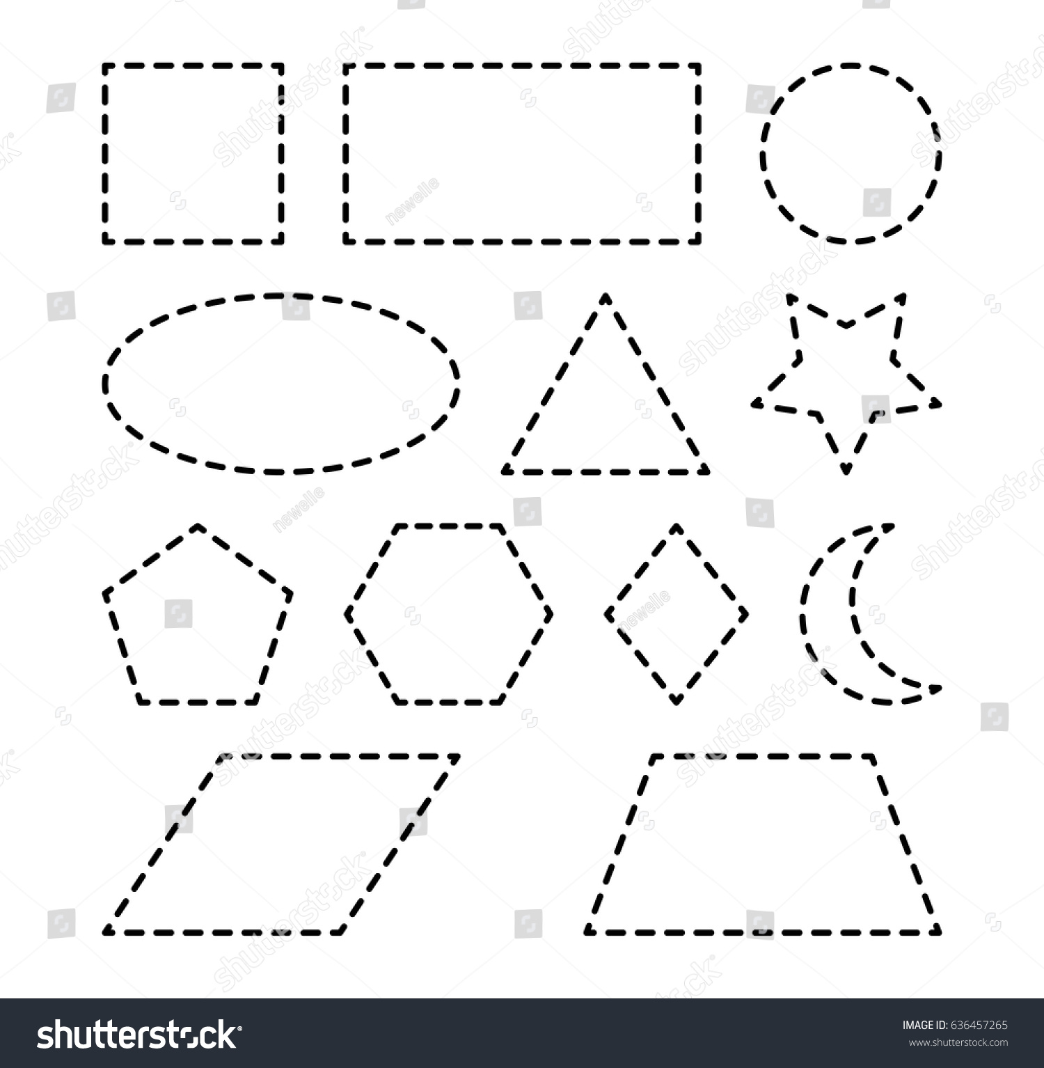 Geometric Shapes Square Circle Oval Triangle Stock Vector 636457265