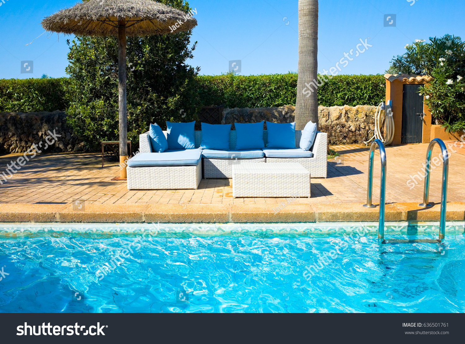 Outdoor Natural Gas Fire Pit Table, Lounge Chairs Near Pool Side Stock Photo Edit Now 636501761
