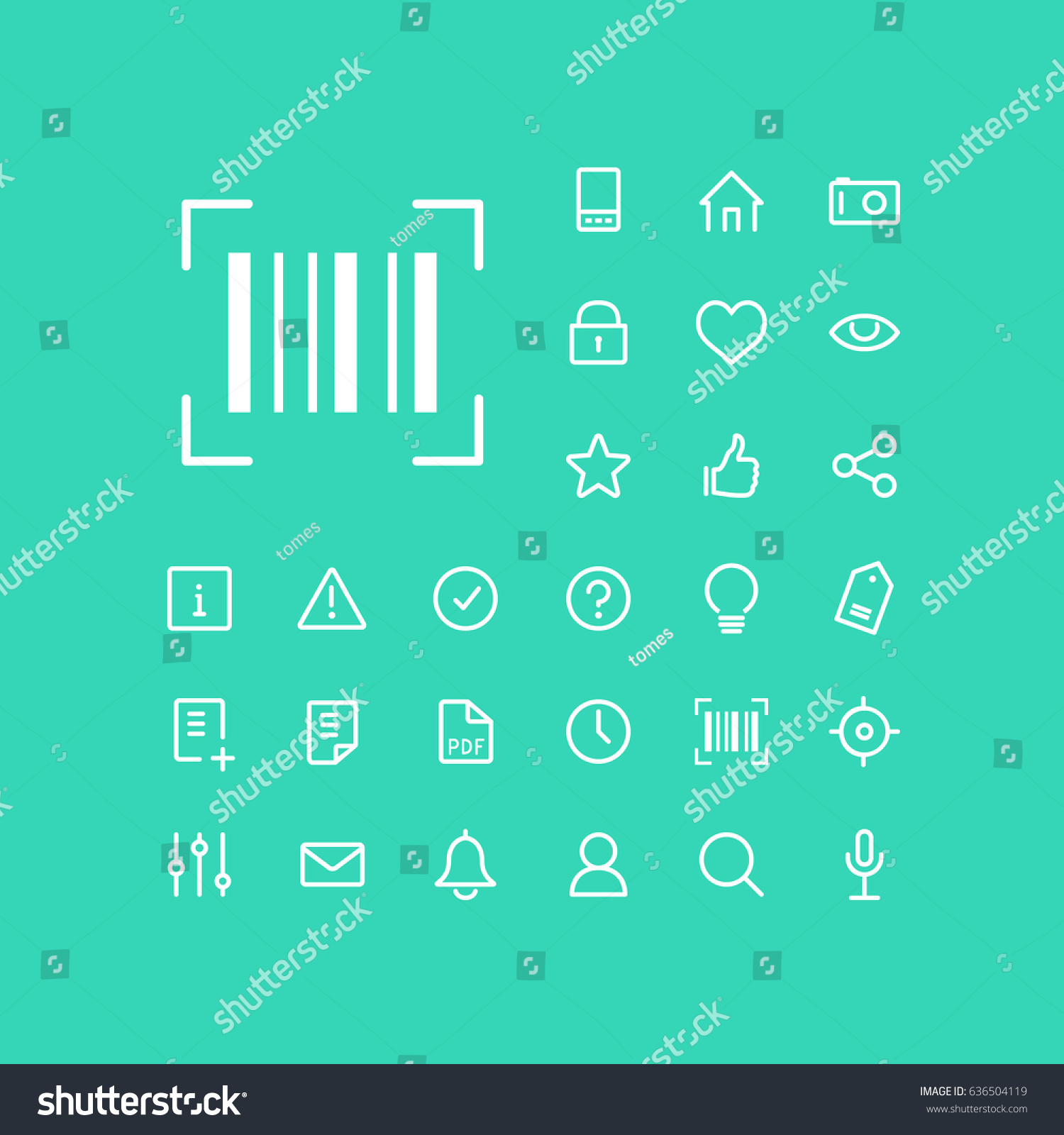 Barcode Scanner Icon Set On Green Stock Vector (Royalty Free