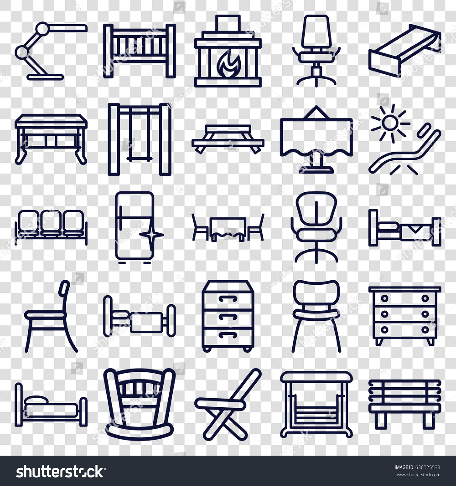 furniture icons set set 25 furniture stock vector 636525533