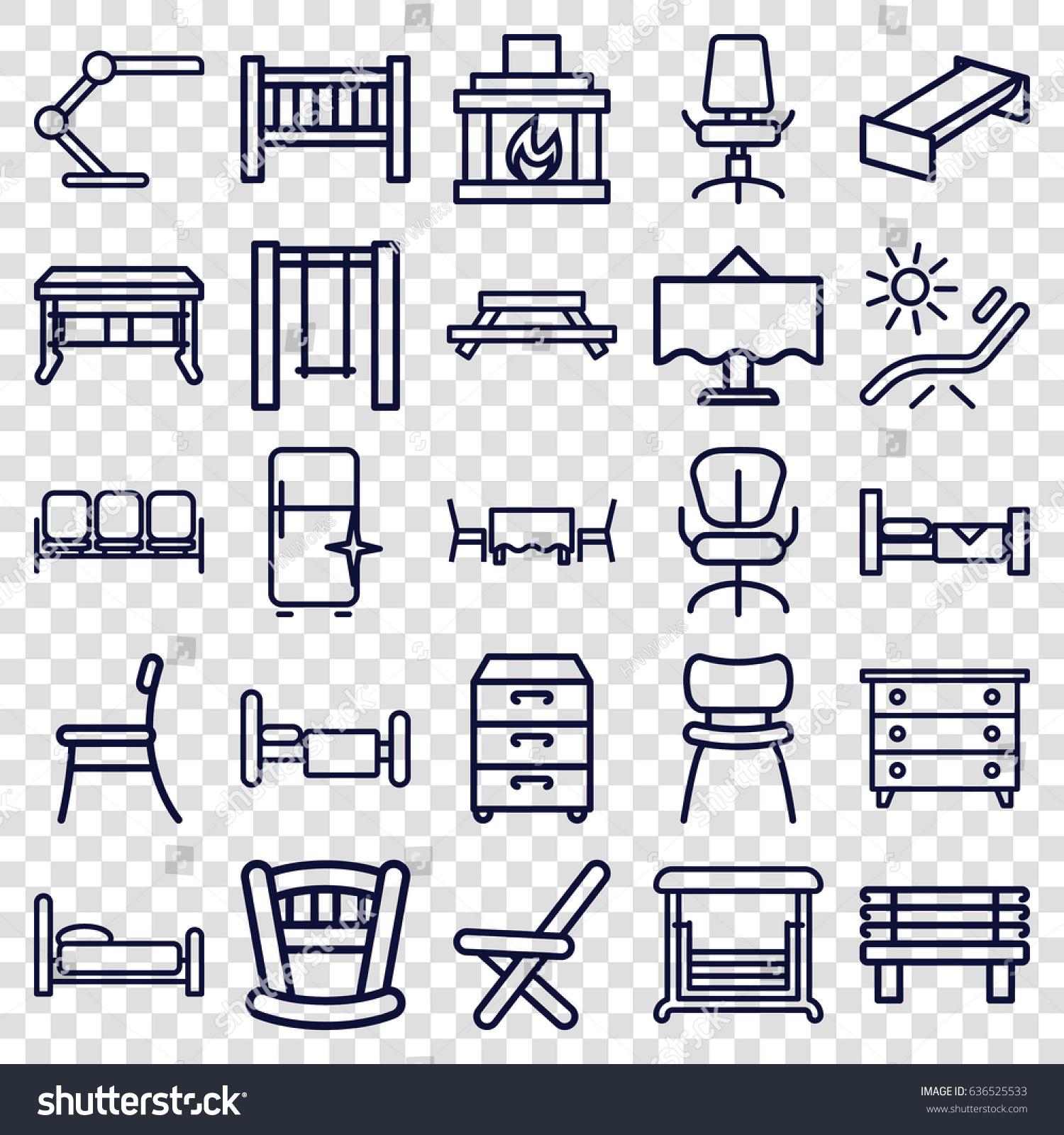 furniture icons set set 25 furniture stock vector 636525533