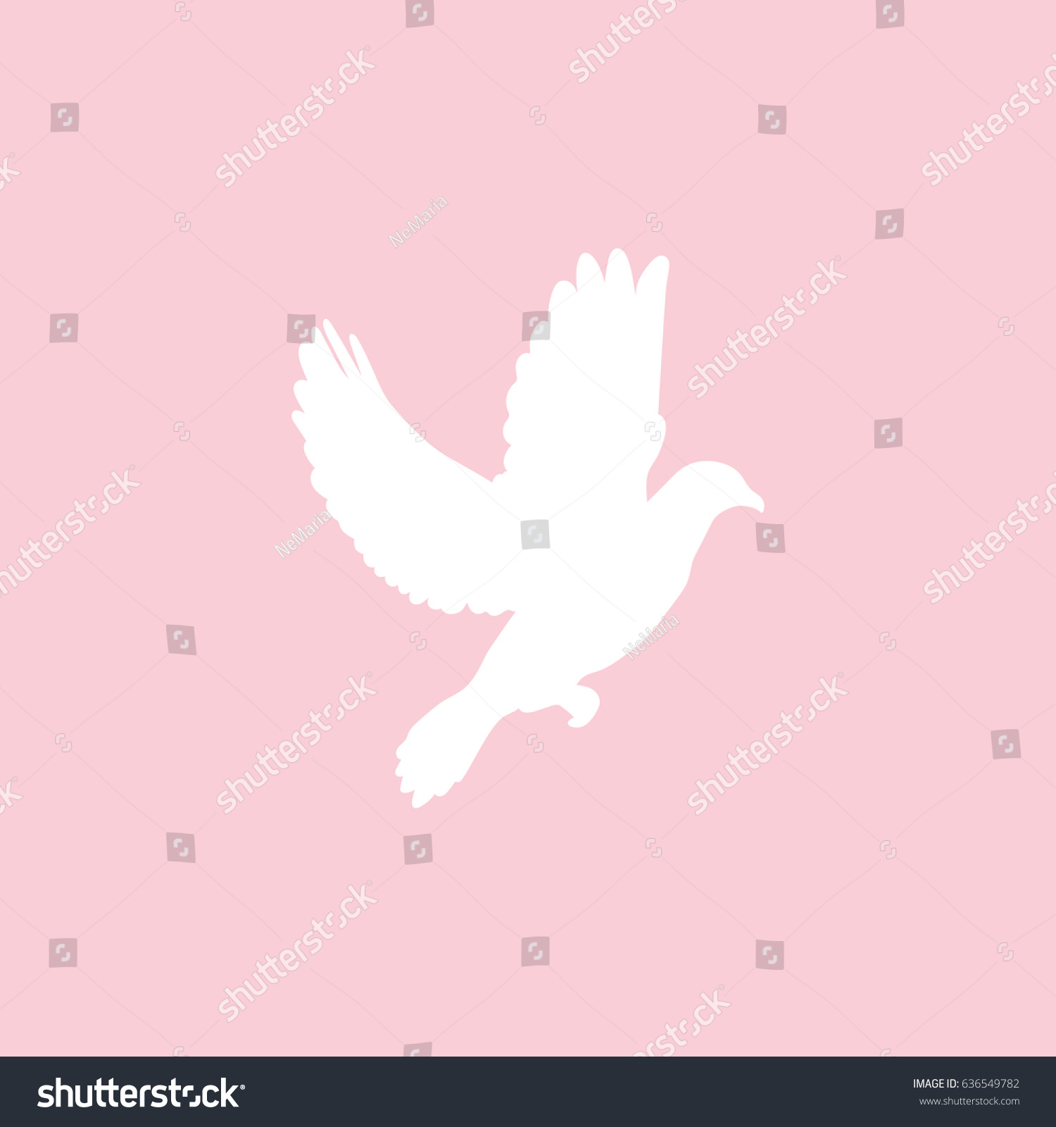 Flying Dove Isolated On Pink Background Stock Vector 636549782 ...