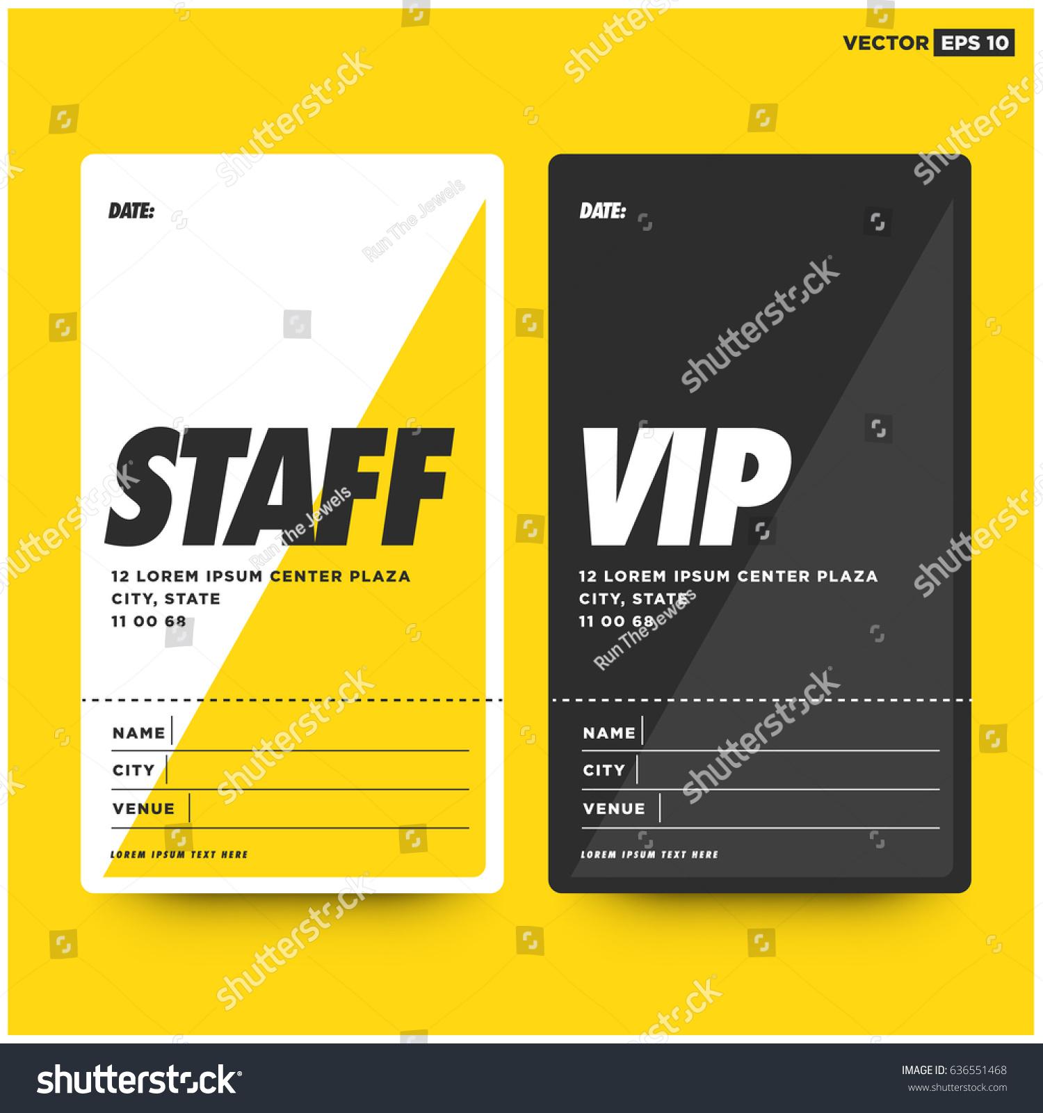 Staff VIP Entry ID Card Design Vector de stock636551468: Shutterstock