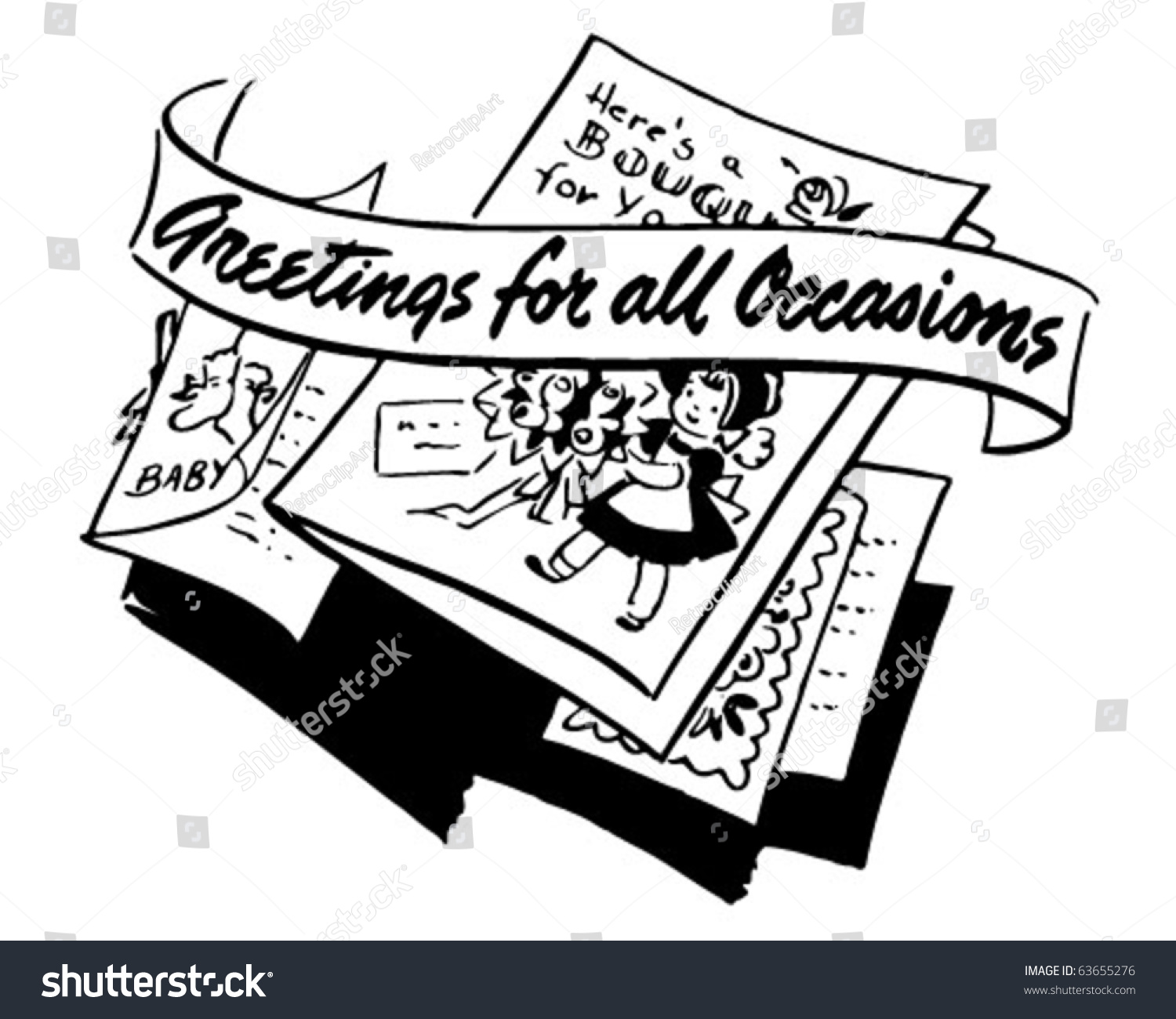 Greetings All Occasions Ad Header Retro Stock Vector Royalty Free