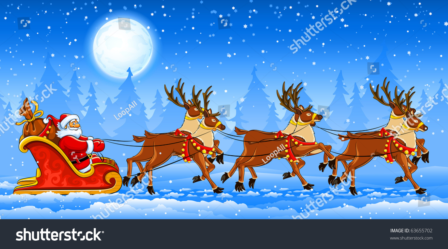 christmas santa claus riding on sleigh with reindeers by snow vector illustration - Santa With Reindeer