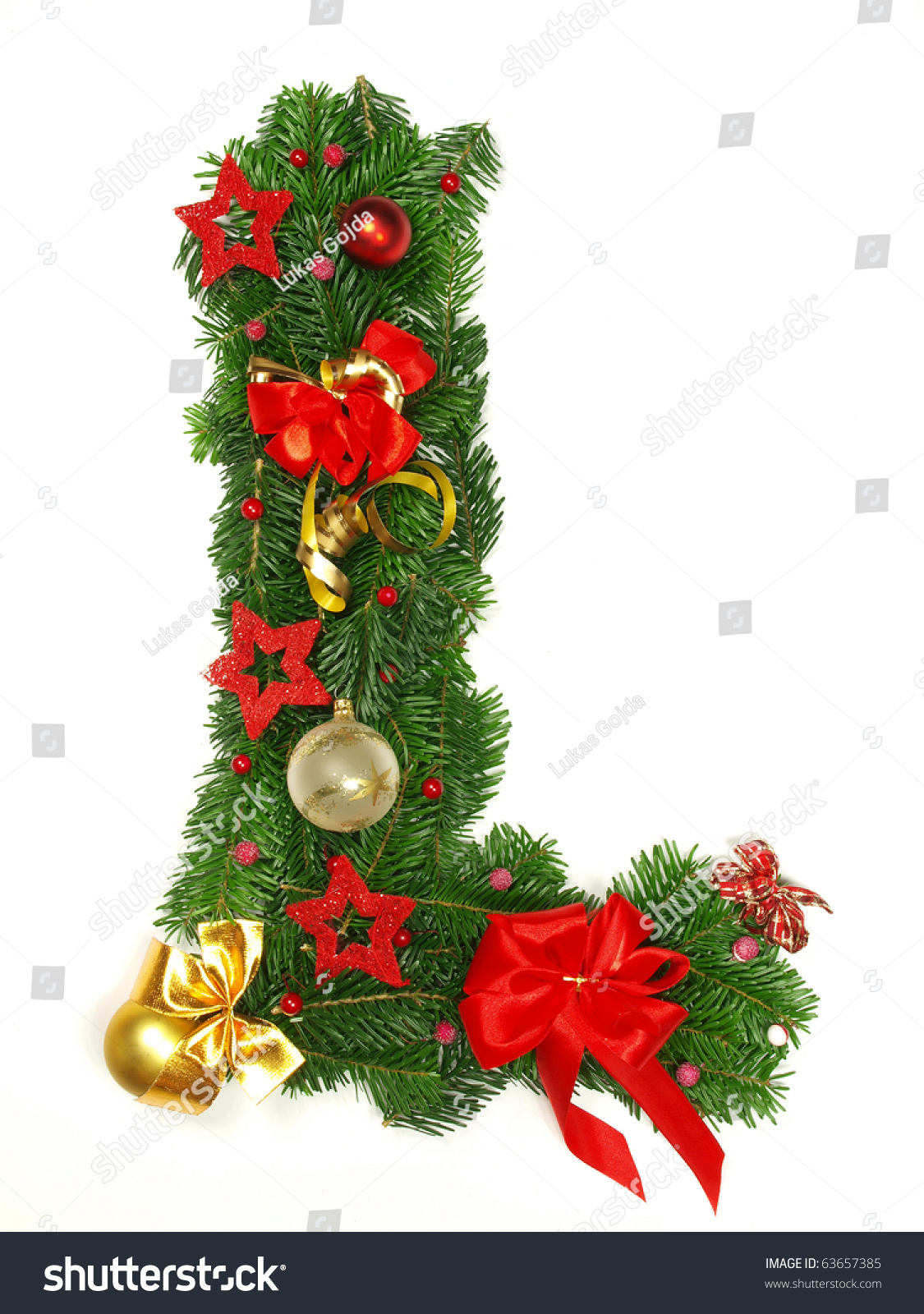 Christmas Alphabet Letter quotLquot Stock Photo 63657385