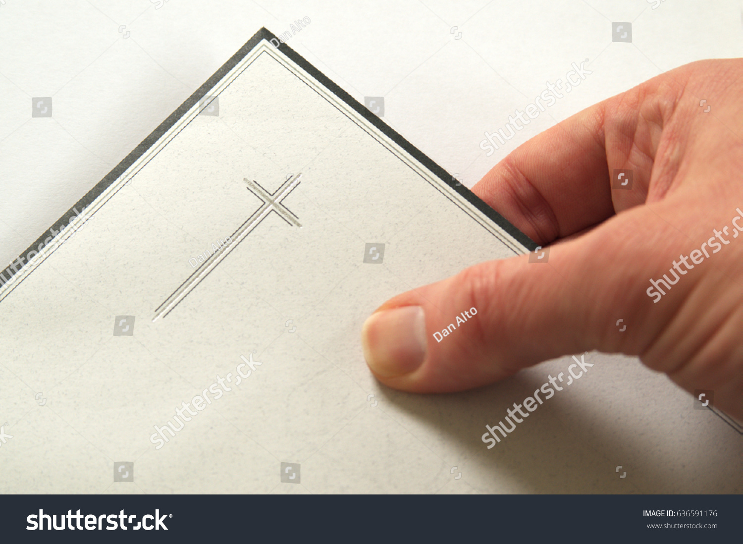 Condolences Hand Holding Envelope Invitation Funeral Stock Photo ...