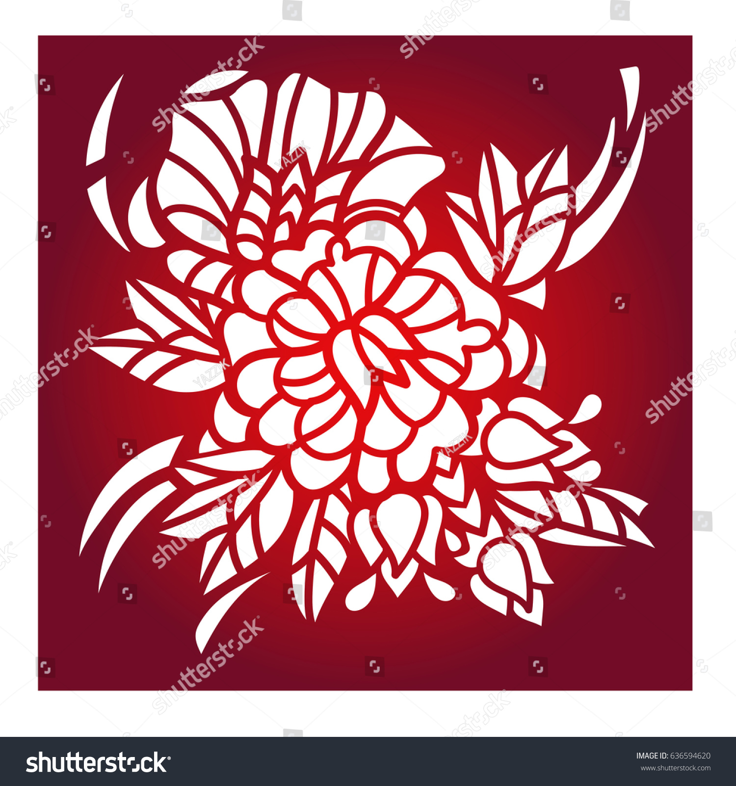 Laser Cut Flower Pattern Decorative Panel Stock Vector (Royalty Free ...