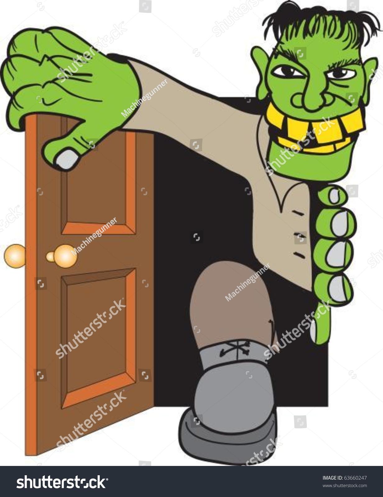 Frankensteinu0027s monster come in through door & Frankensteins Monster Come Through Door Stock Vector 63660247 ...