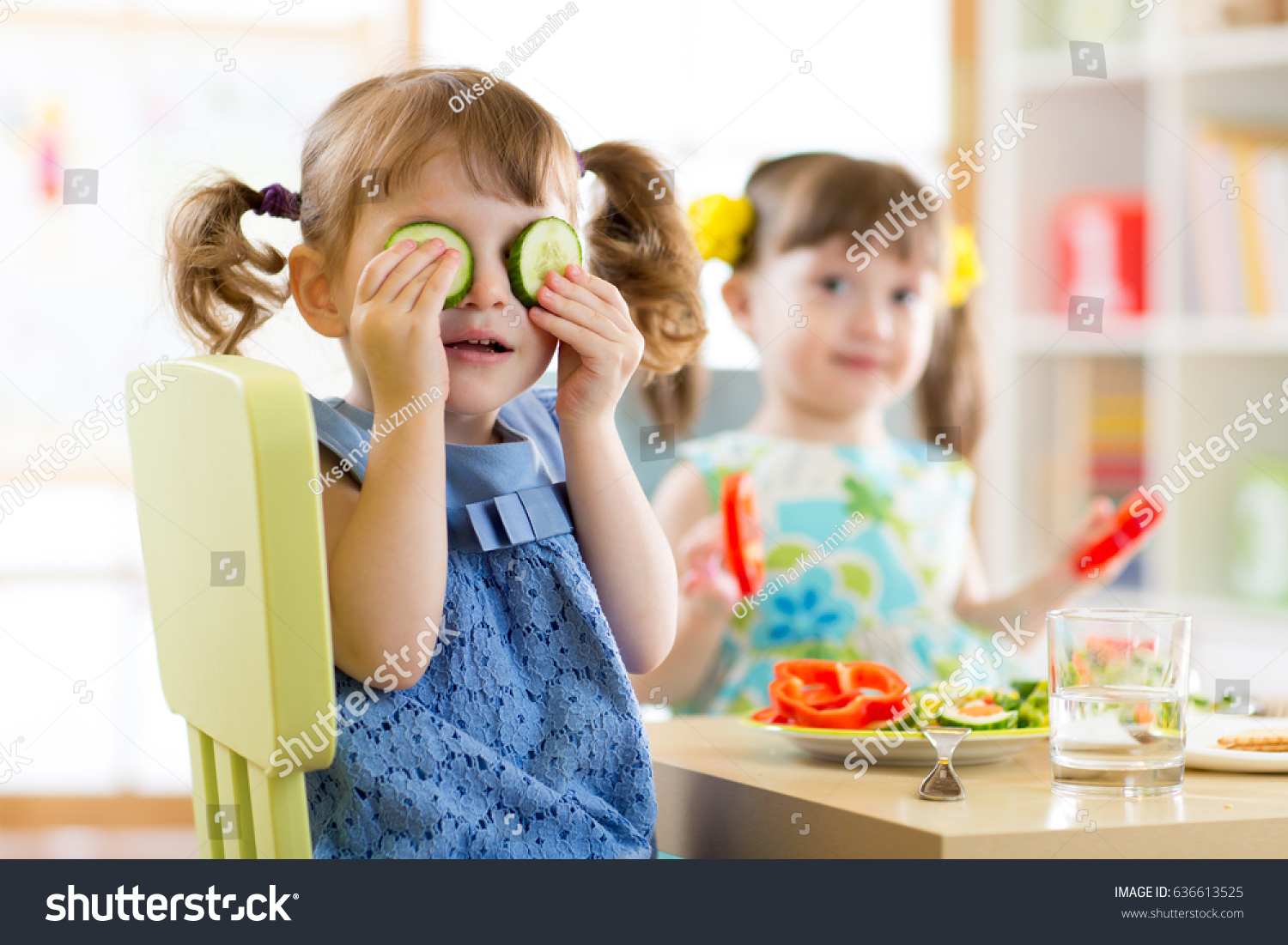 cute kids eating healthy food kindergarten stock photo (edit now