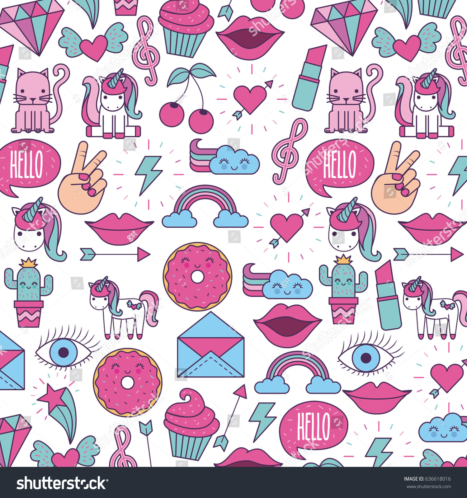 Girly Icon Image Stock-Vektorgrafik 636618016 – Shutterstock
