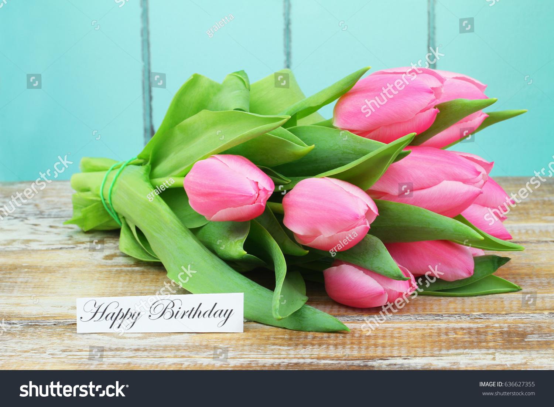 Happy birthday card bunch pink tulips stock photo edit now happy birthday card with bunch of pink tulips izmirmasajfo