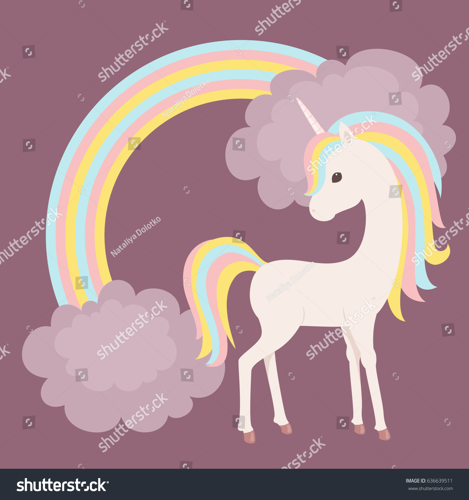 Colorful Unicorn Staying Close Rainbow Clouds Stock Vector HD ...