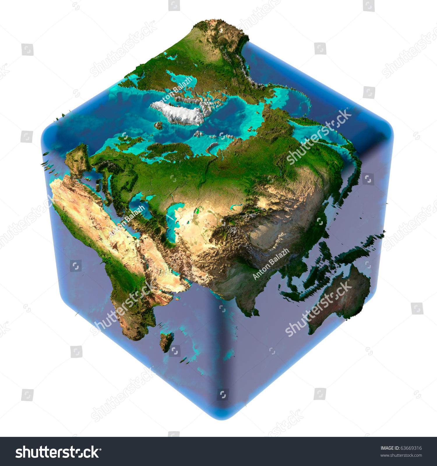 Earth cube translucent body water detailed stock illustration earth as a cube with translucent body of water and a detailed relief map of the sciox Gallery