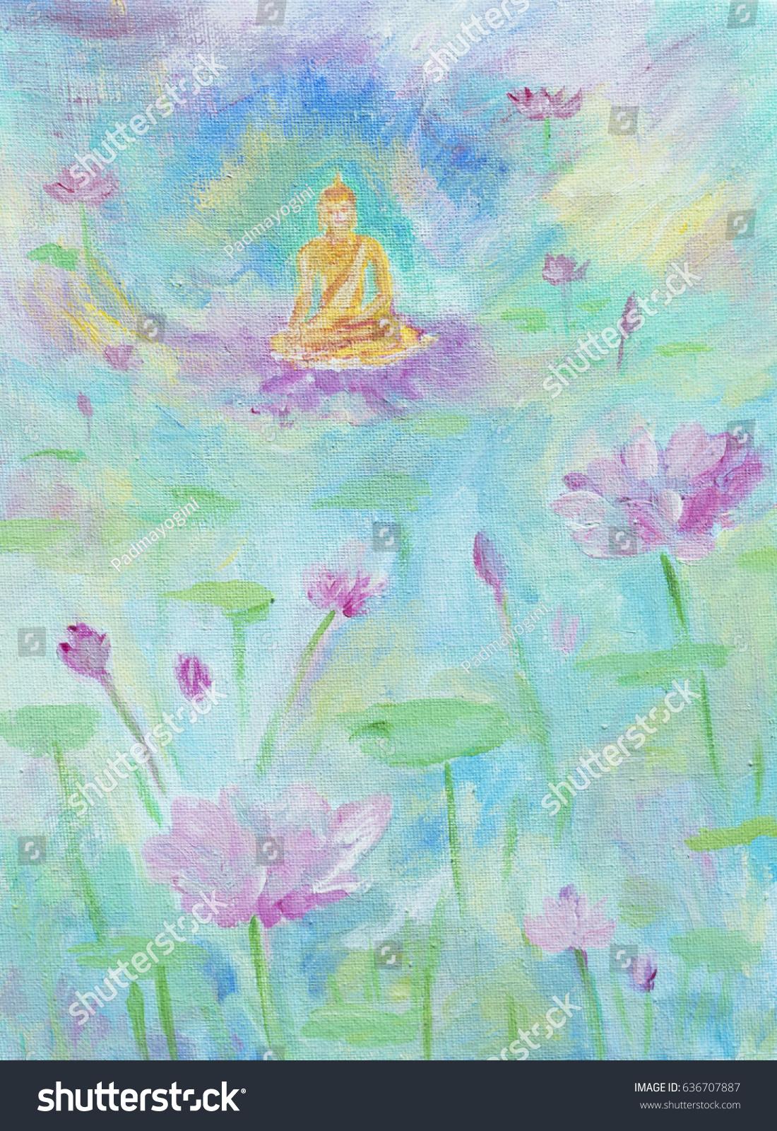 Painting Illustration Golden Buddha Sitting On Stock Illustration