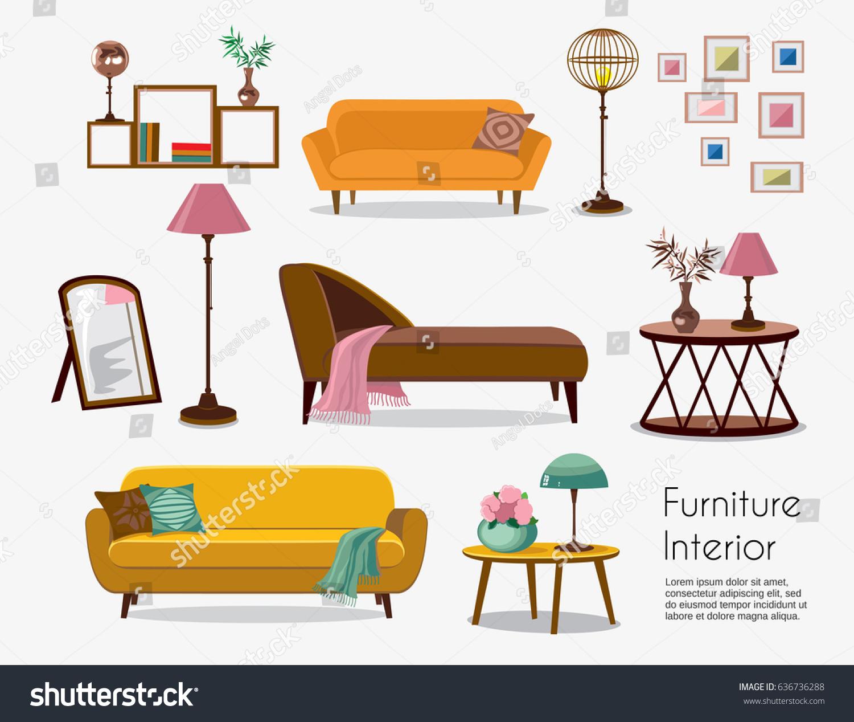Interior sofa sets home accessories furniture stock vector for Mobili stilizzati
