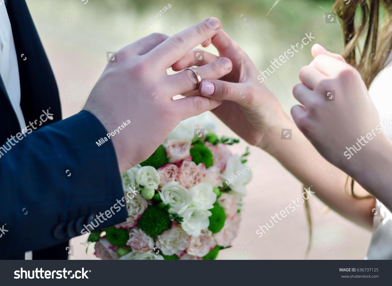 Woman Wears Wedding Ring On Mans Stock Photo 636737125 Shutterstock