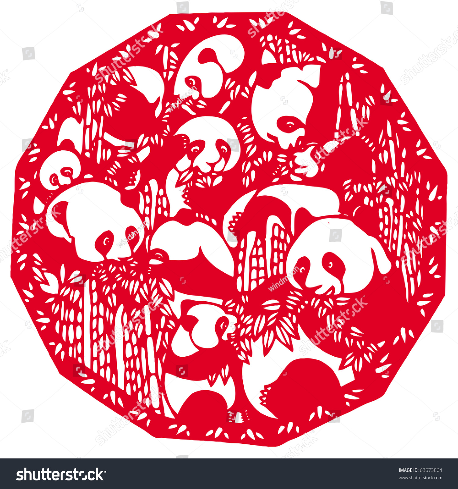 Stock Photo Chinese Paper Cutting Panda on Stock Illustration Fish Silhouette