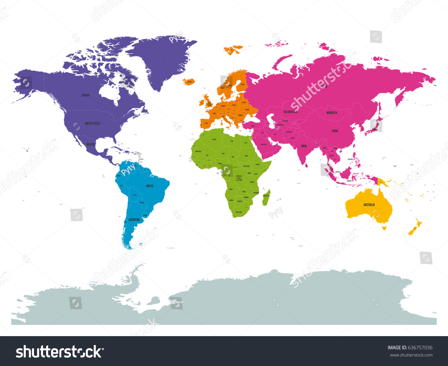 Political World Colored By Continents Country Stock Vector - World map country labels
