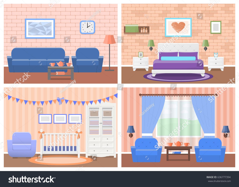 Cartoon Room: Rooms Interiors Vector Furniture Living Room Stock Vector
