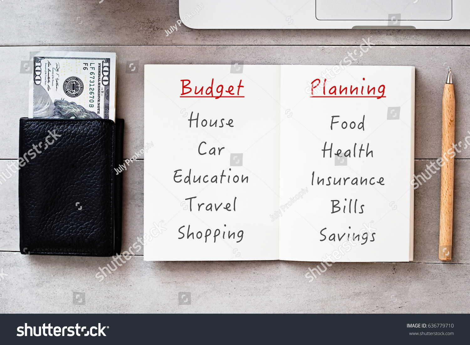 budget planning flatlay saving earning making stock photo edit now