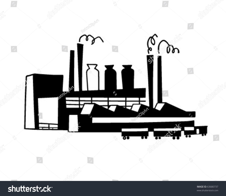 Industrial Plant Retro Clipart Illustration Stock Vector