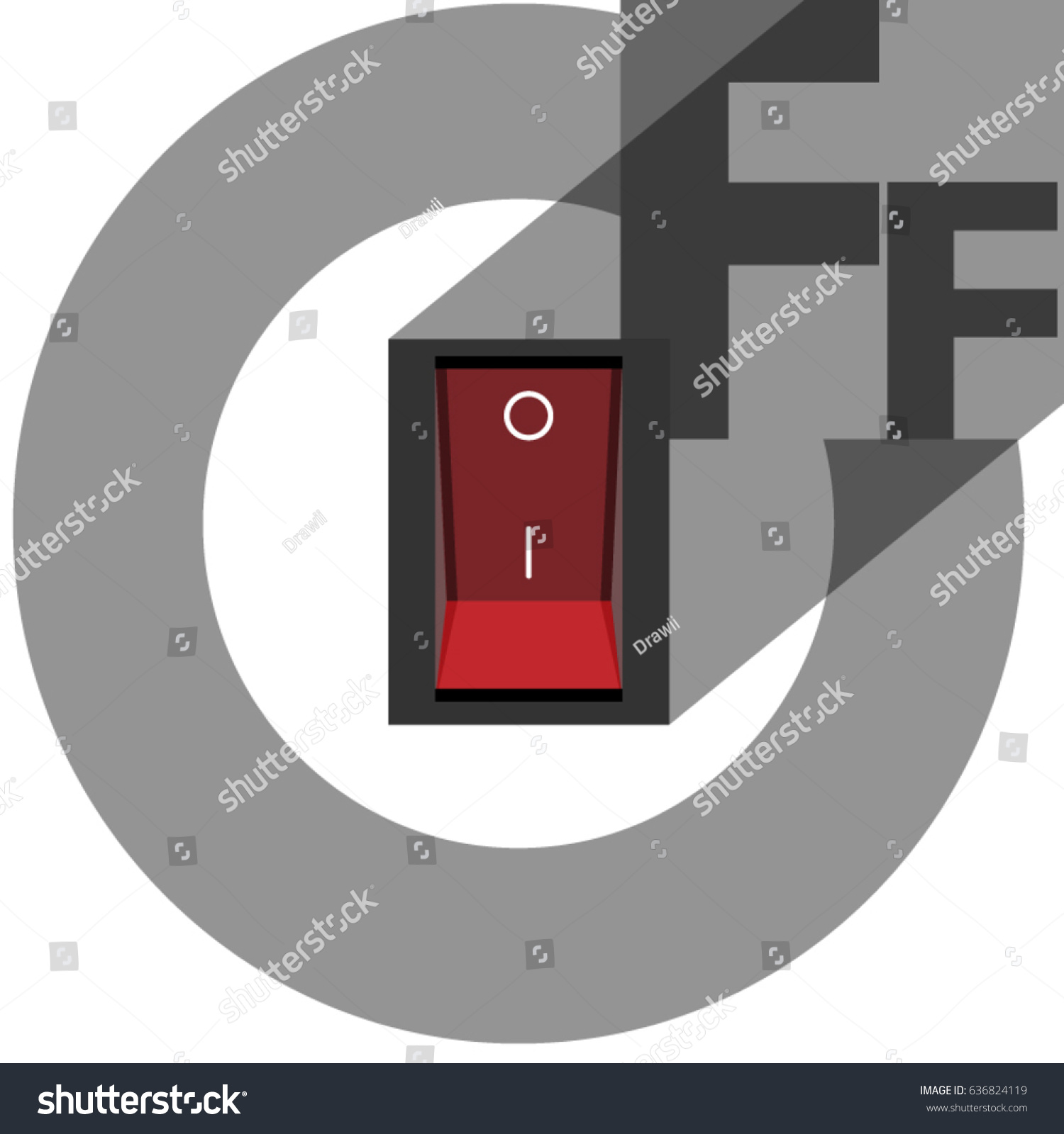 Power Off Toggle Switch Button Cut Stock Vector (Royalty Free ...