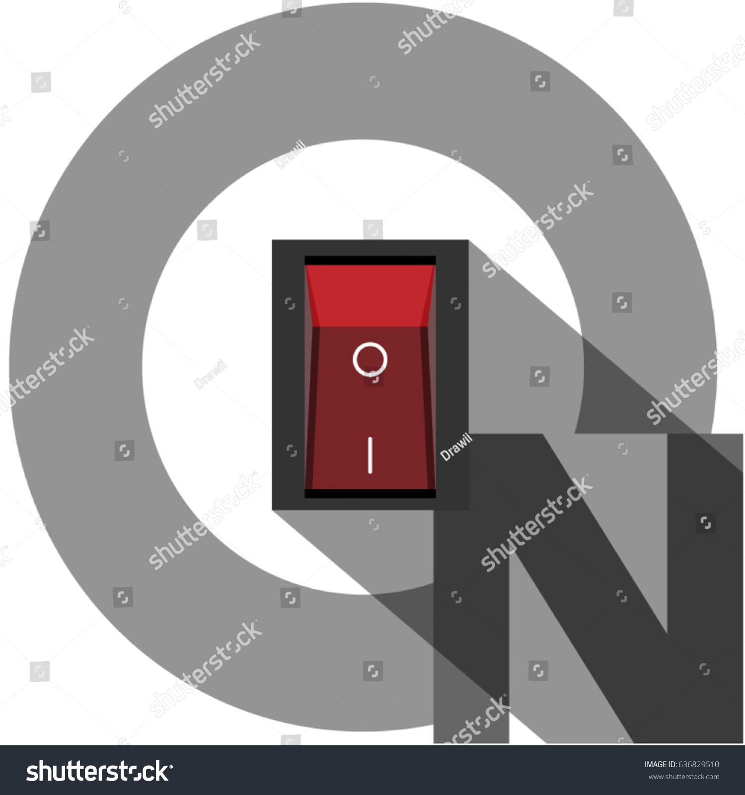 Power On Toggle Switch Button Cut Stock Vector (Royalty Free ...