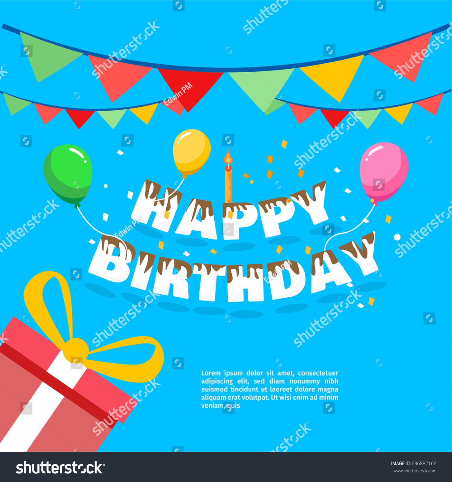 Happy birthday vector greeting card website stock vector 636882166 happy birthday vector for greeting card website invitation letter composition stopboris Choice Image
