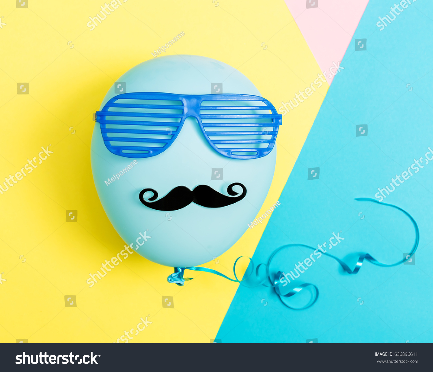 Party Theme With Balloon Moustache And Shutter Shades On A Vibrant Colored Background